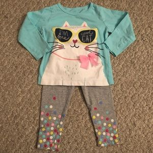 """Baby Girl """"I'm One Cool Cat"""" Long-Sleeve Outfit"""
